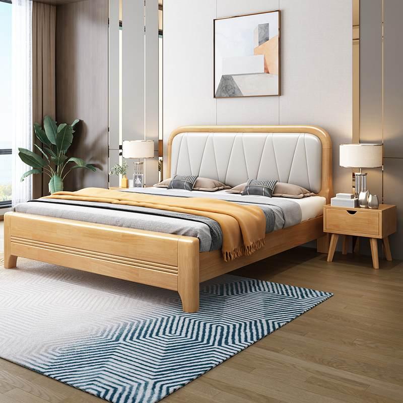 北欧轻奢实木床现代简约1.8米橡木双人床主卧1.5米家用床厂家直销