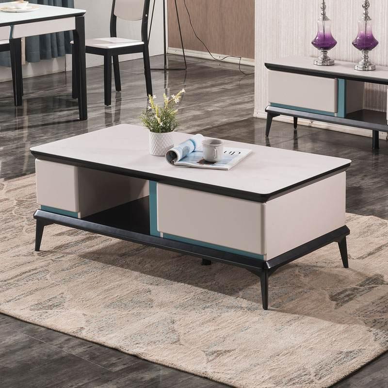 钢化玻璃茶几电视柜组合意式极简轻奢北欧现代简约小户型客厅伸缩