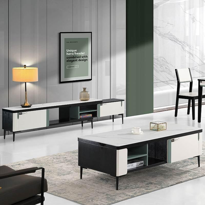北欧现代简约小户型极简风格钢化玻璃茶几电视柜组合套装客厅家用