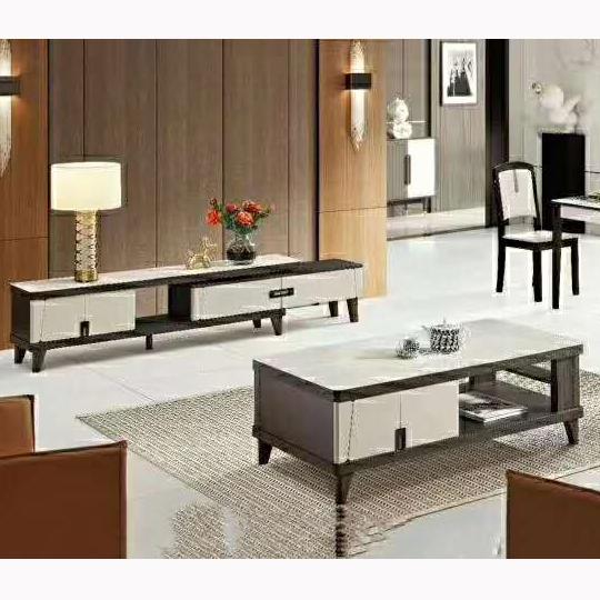 北欧简约家用客厅茶几电视柜组合钢化玻璃面茶桌套装