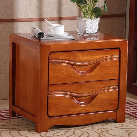 橡木床头柜简约现代卧室榉木胡桃原木色免安装迷你储物边柜经济型