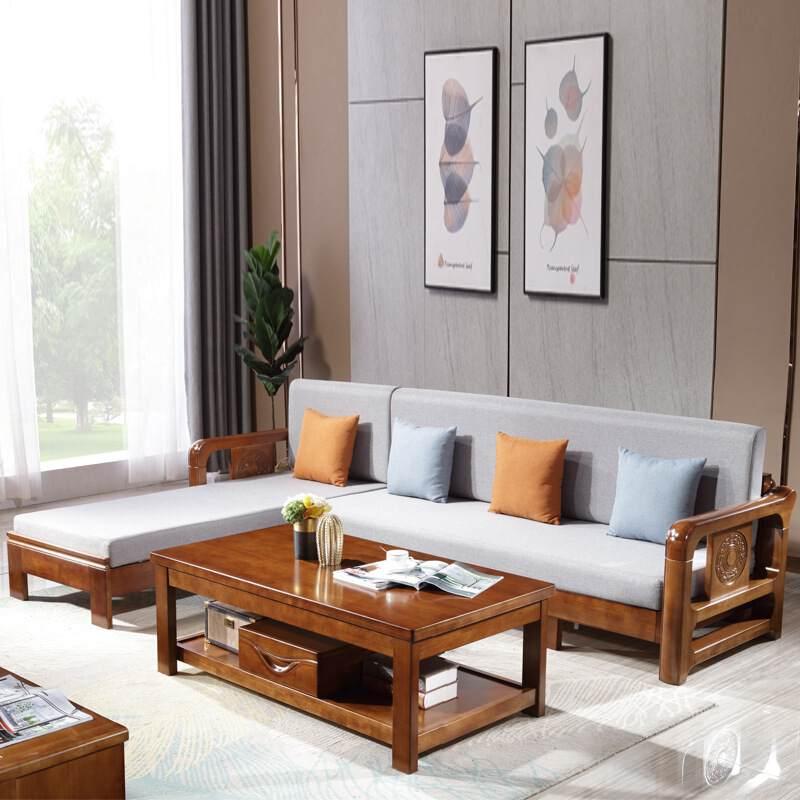 新中式实木沙发123多功能储物拉床沙发组合客厅实木套系沙发