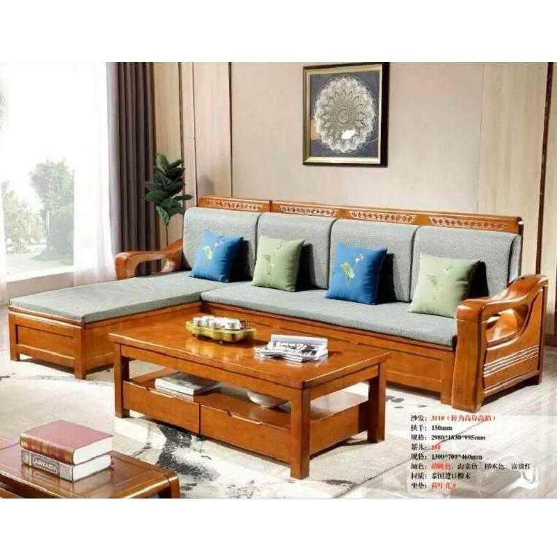 新中式橡胶木沙发123多功能储物拉床沙发组合客厅实木套系沙发