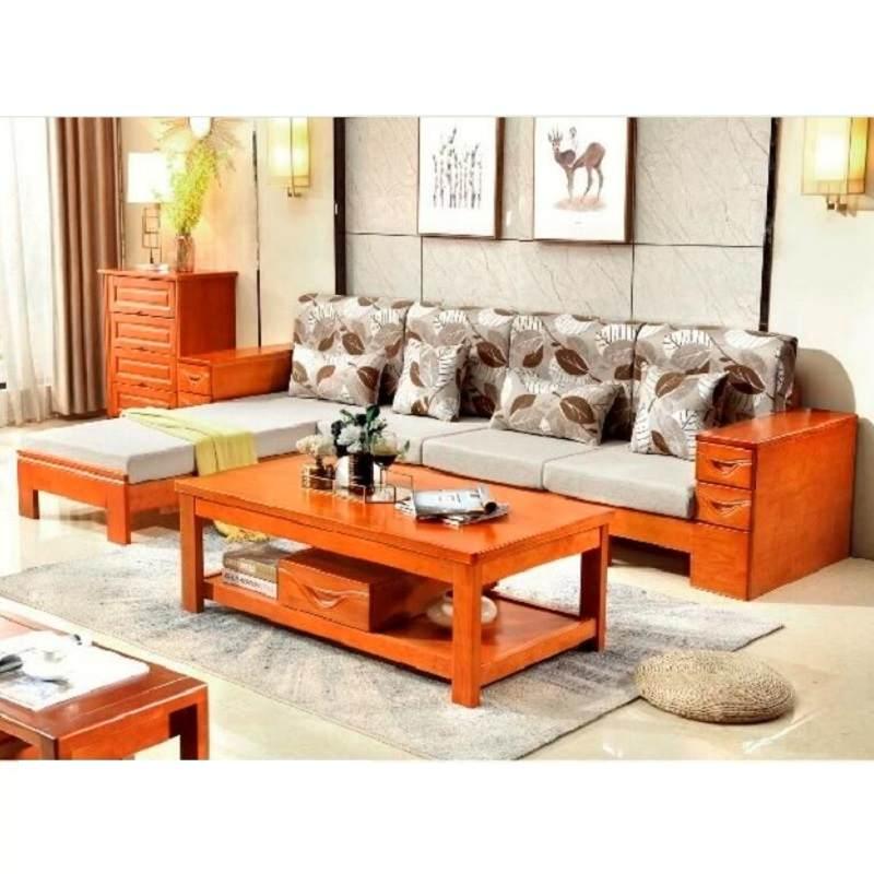 新中式全实木沙发橡木沙发带贵妃现代简约客厅L型小户型沙发组合