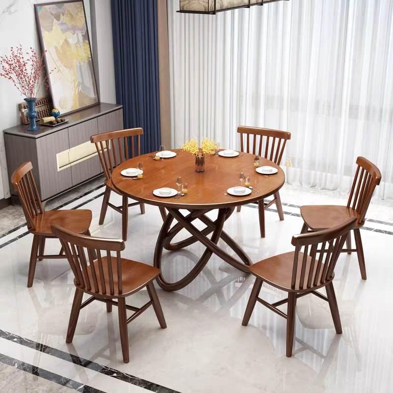 北欧餐桌椅组合餐厅圆桌小户型家用吃饭桌子现代简约实木餐桌圆形