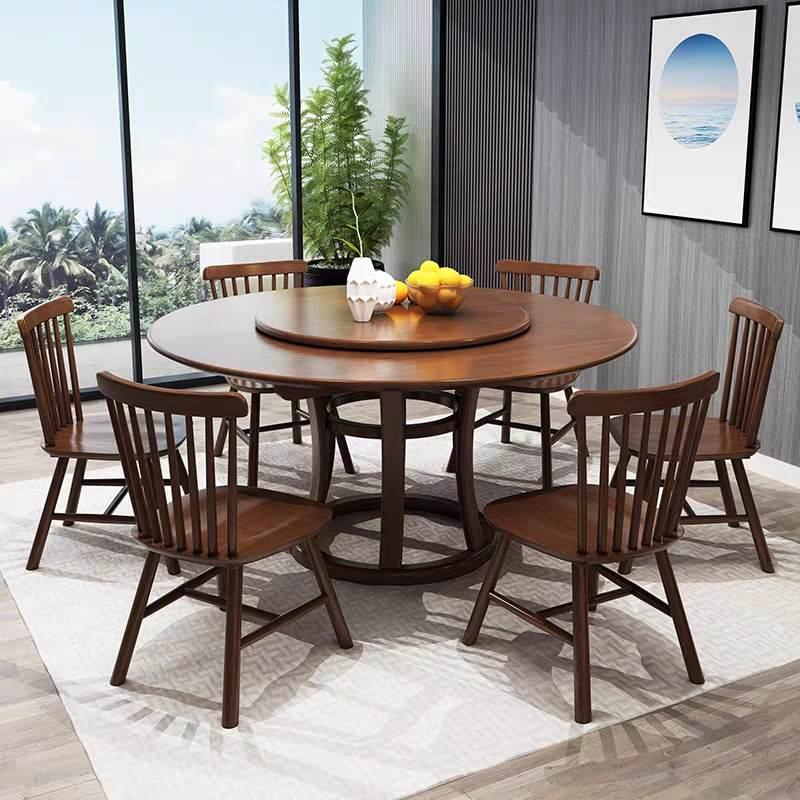 北欧全实木餐桌椅组合餐厅餐台饭桌现代简约家用橡木餐桌小户圆形