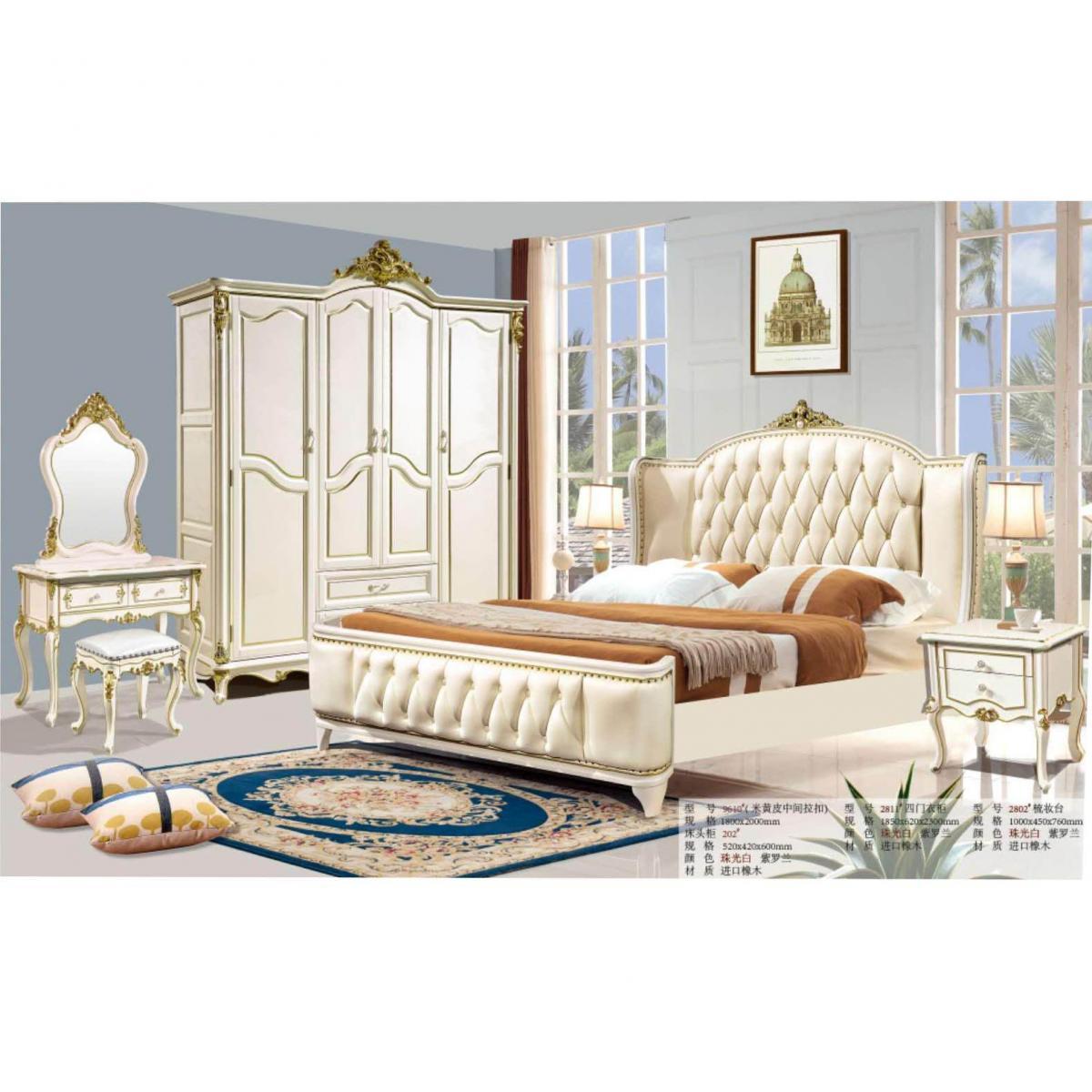 欧式全实木真皮床法式奢华卧室双人床小户型实木雕花公主婚床