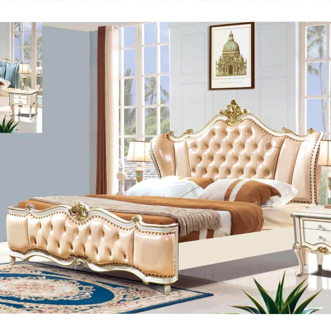 欧式主卧双人1.8米珍珠白床法式储物粉色公主床卧室奢华家具套装