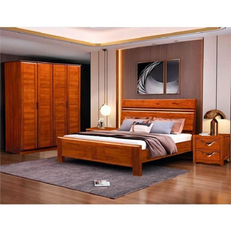 胡桃木实木床现代简约床主卧新中式高箱储物床双人床1.8米1.5米