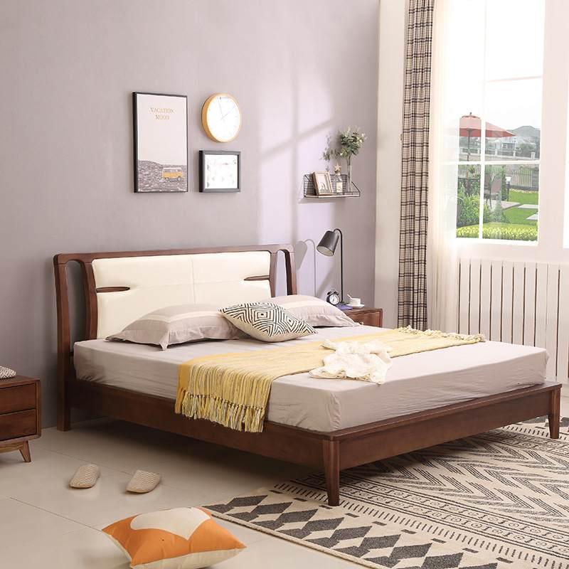 新中式全白蜡木实木双人床1.8米1.5米北欧日式简约原木黑胡桃木床