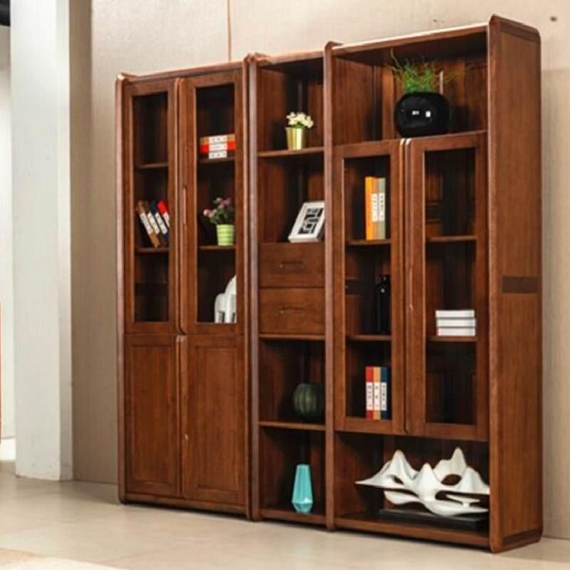 南美黑胡桃书柜组合书架全实木双门三门书橱现代新中式书房储物家具