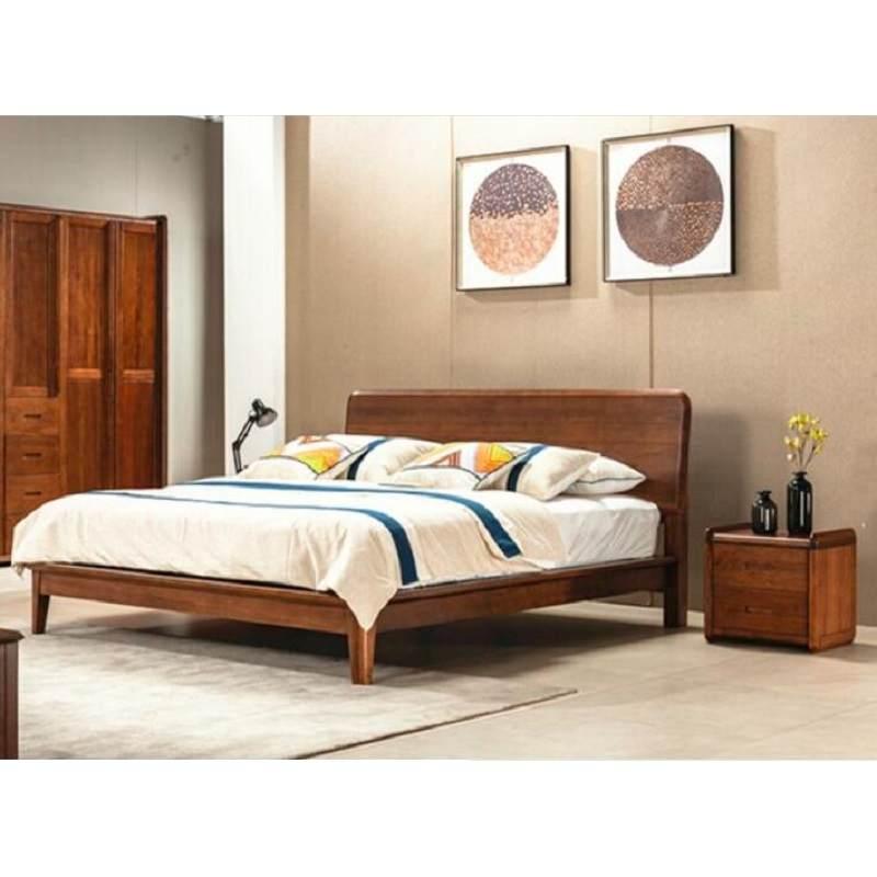 南美黑胡桃木双人床1米8婚床现代卧室别墅家具高箱床软靠全实木床