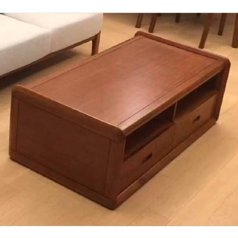 轻奢黑胡桃实木电视柜现代简约小户型电视柜茶几组合客厅家用地柜