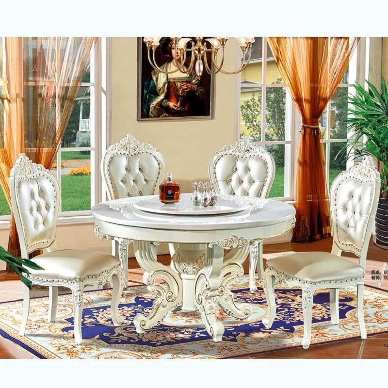欧式餐桌椅组合大理石圆桌带转盘家用圆形餐桌吃饭小户型法式饭桌