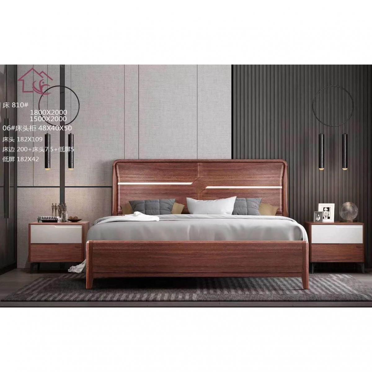 新中式全实木床现代简约1.8米双人床主卧轻奢禅意古典家具