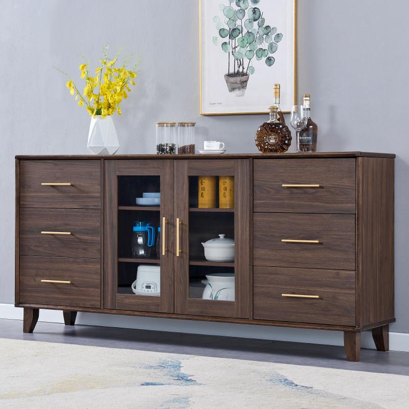 新中式餐边柜现代简约实木框餐厅茶水柜酒柜胡桃木色柜储物柜家具