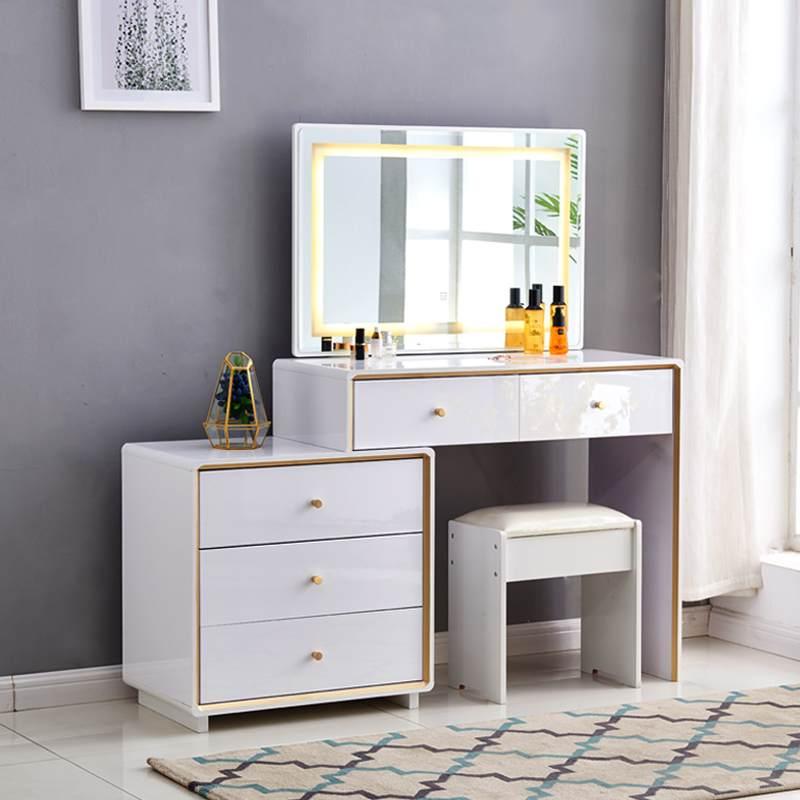 梳妆台卧室现代简约网红ins风小户型轻奢收纳柜一体带灯化妆台桌