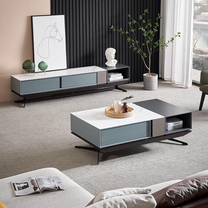 岩板茶几客厅家用意式极简轻奢现代简约北欧ins茶几电视柜组合