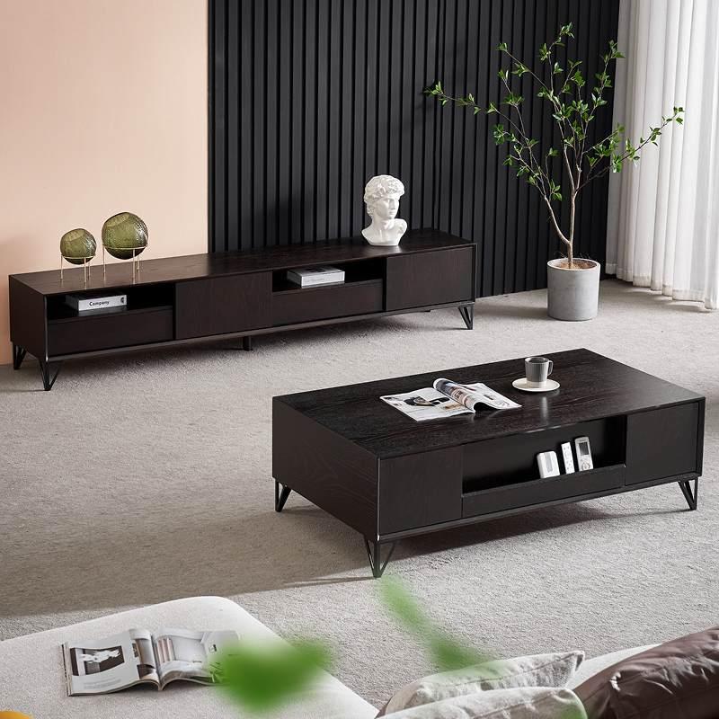 岩板茶几电视柜组合极简意式轻奢现代小户型家用客厅长方形茶台