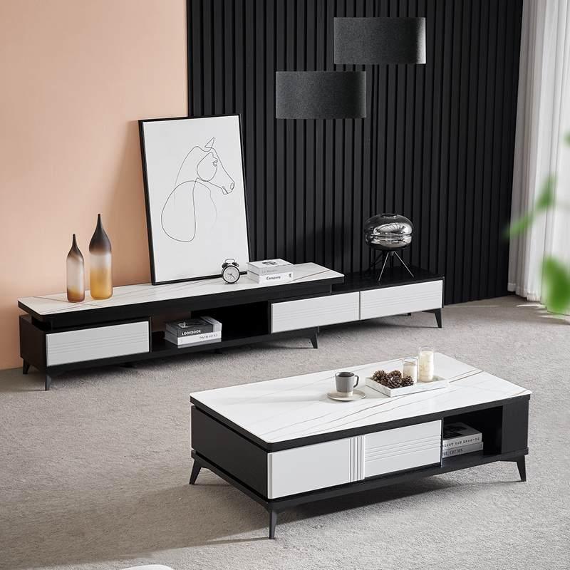 北欧简约电视柜客厅现代小户型轻奢卧室实木电视机柜茶几组合地柜