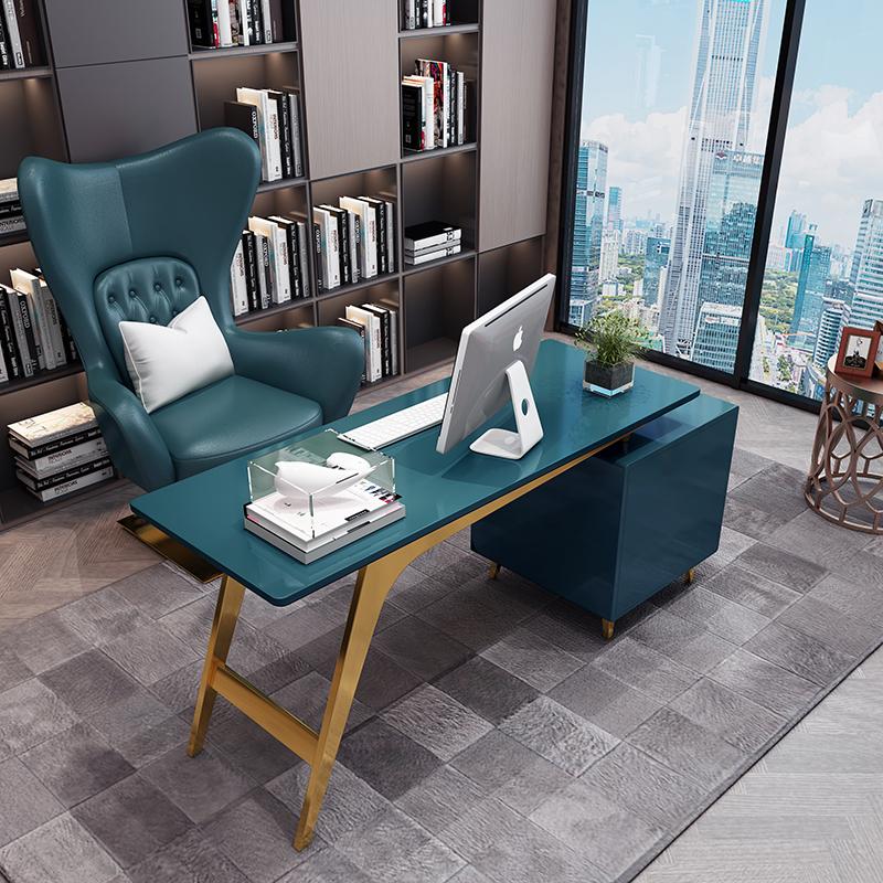 轻奢书桌小户型后现代极简约办公桌不锈钢烤漆写字台式家用电脑桌