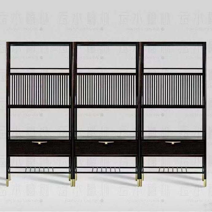 新中式书柜书架简约现代简易置物架实木小书架落地收纳架组合书架
