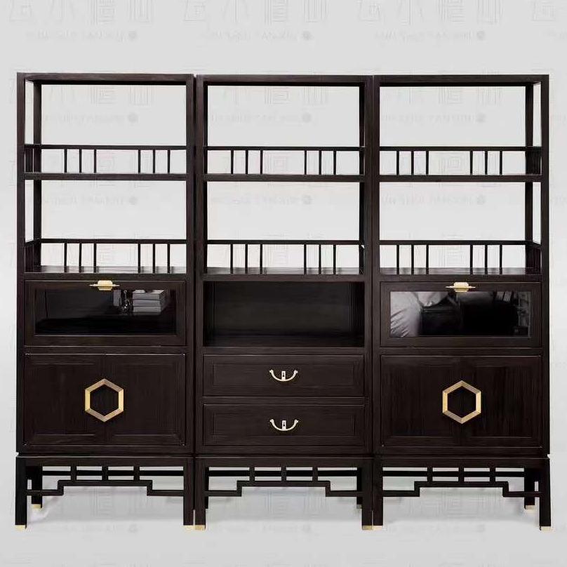 新中式书柜组合全实木黄金檀木置物架实木书架落地中式博古架茶叶展示柜