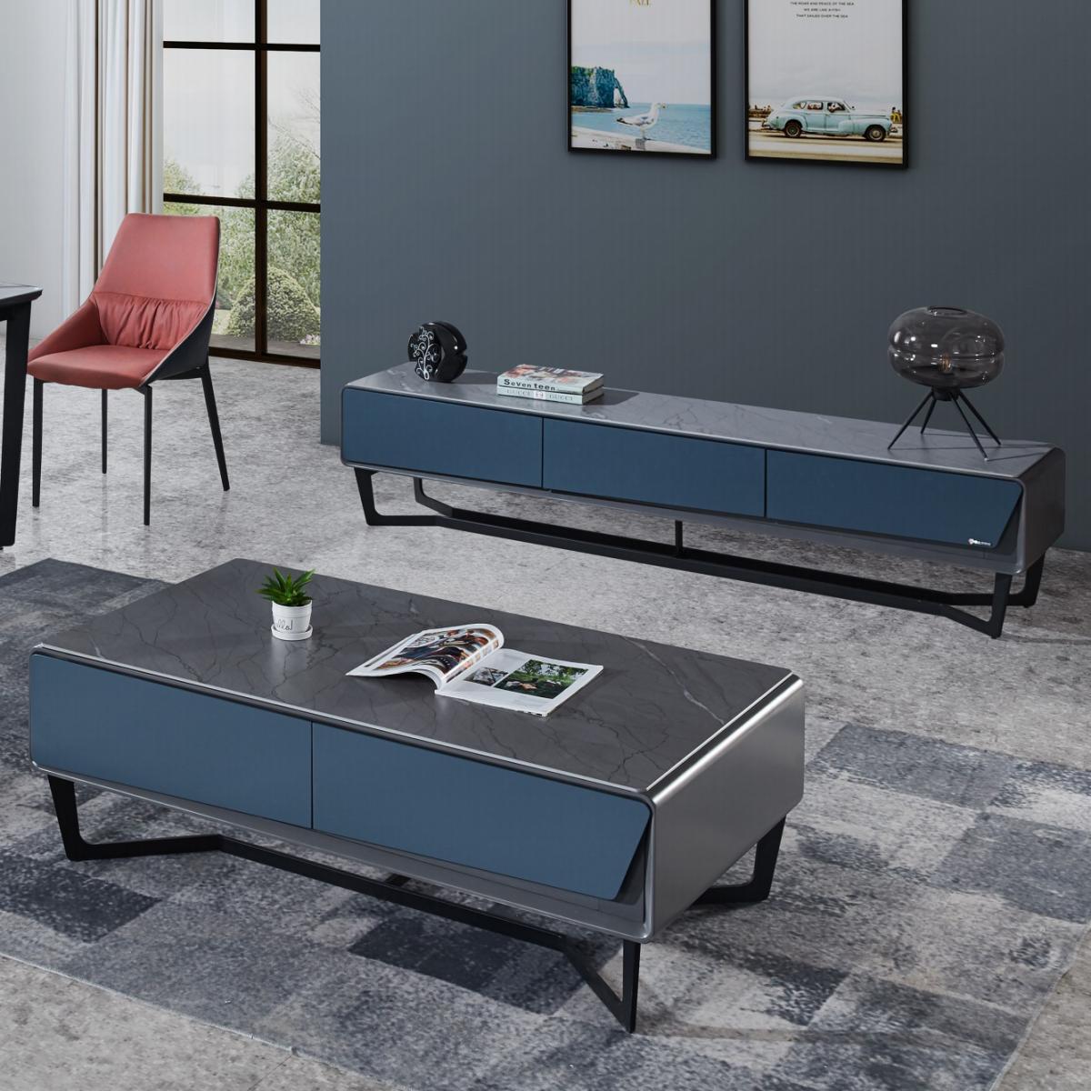 新款意式岩板茶几电视柜组合现代轻奢简约北欧岩板电视柜客厅家用