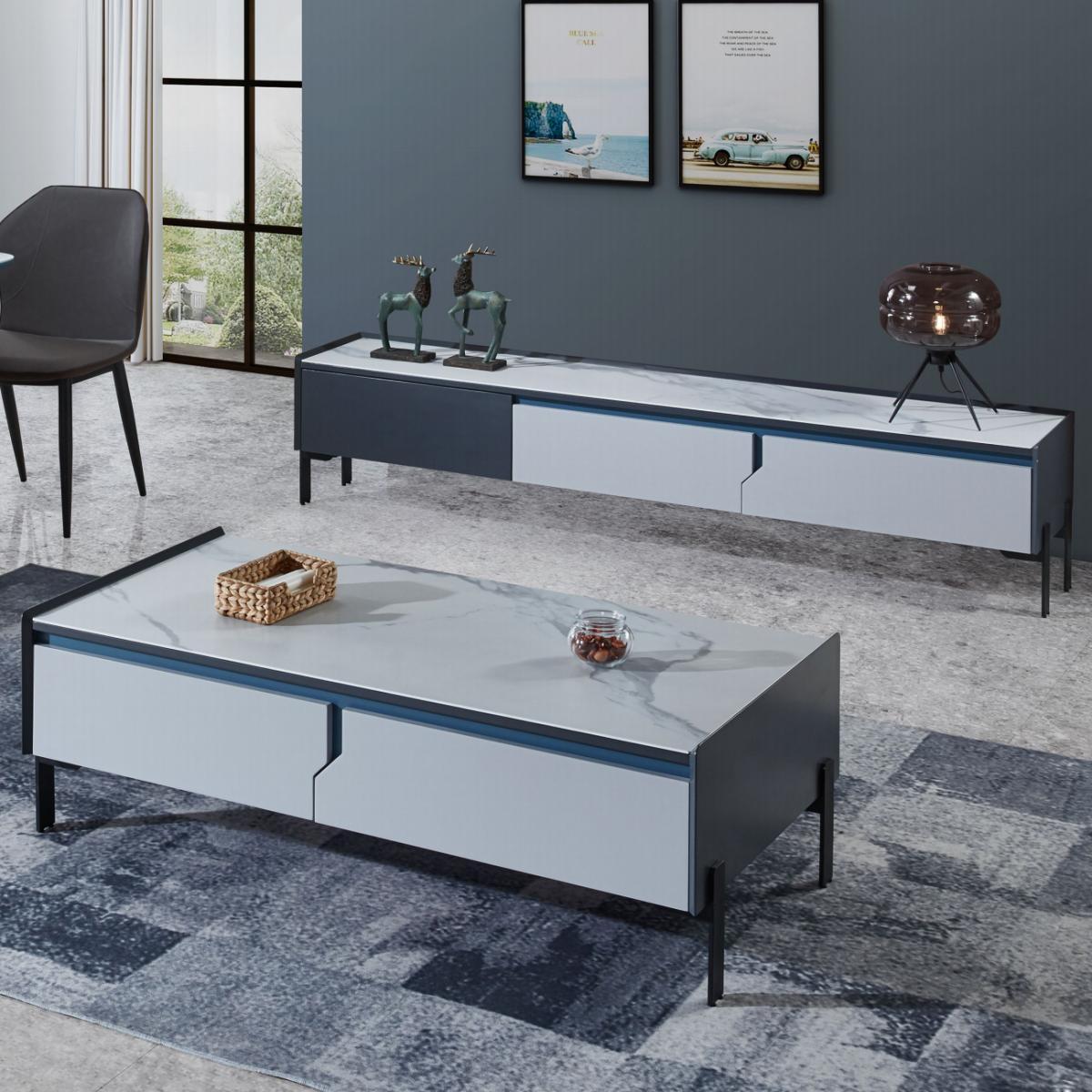 电视柜茶几组合套装轻奢极简现代简约白色客厅岩晶板电视机柜墙柜