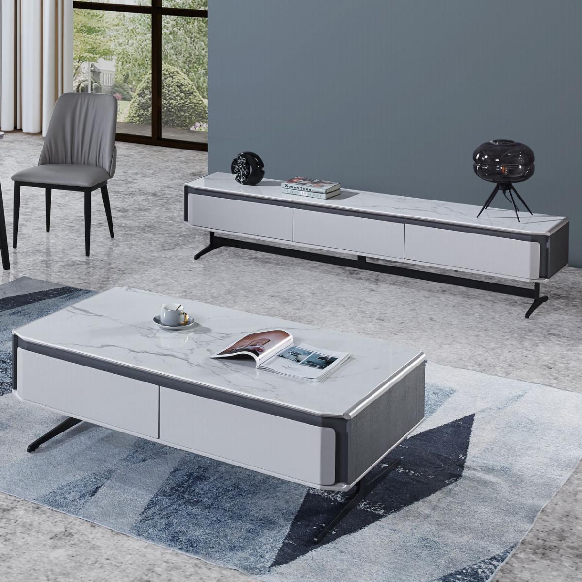 岩板茶几电视柜组合套装简约现代风格客厅小户型家用极简茶台茶桌