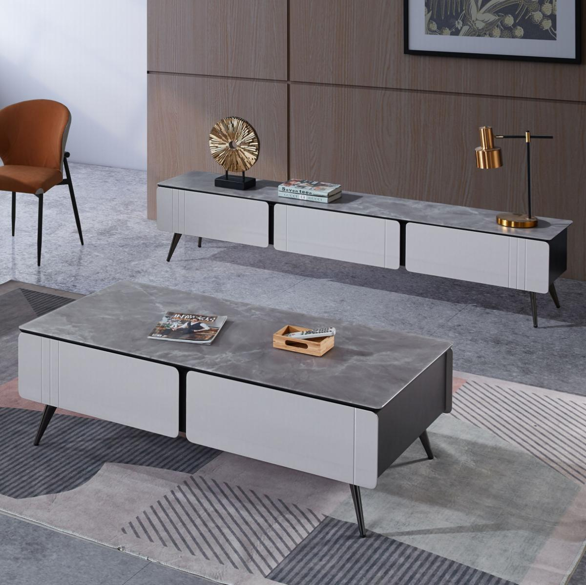 岩板茶几电视柜组合现代简约客厅小户型烤漆收纳新款茶几轻奢现代
