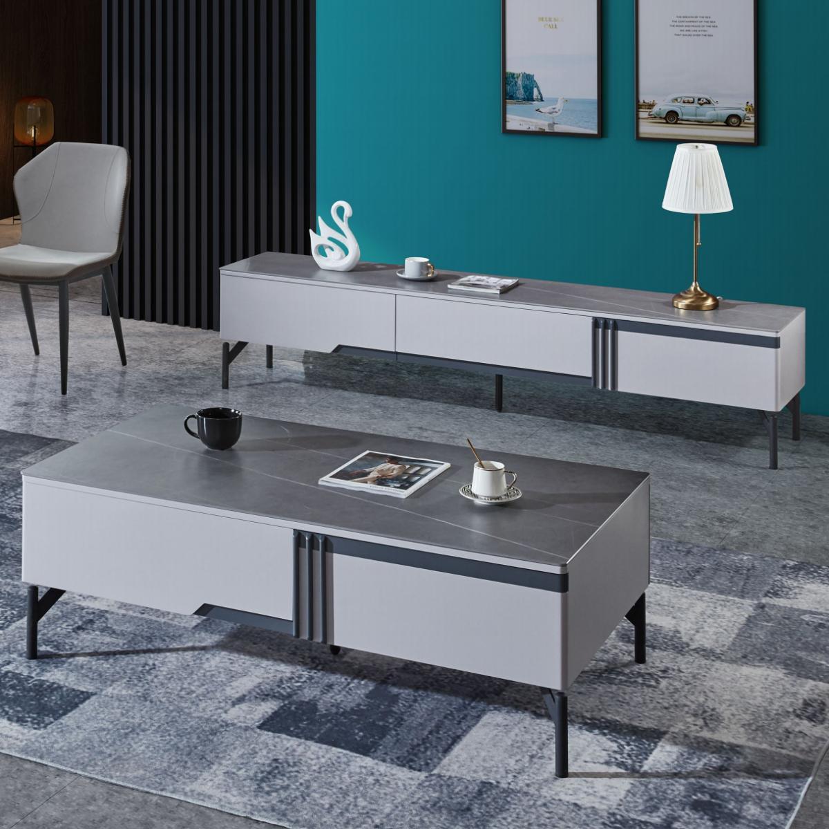 极简岩板茶几电视柜组合意式轻奢简约现代客厅小户型家用储物茶桌