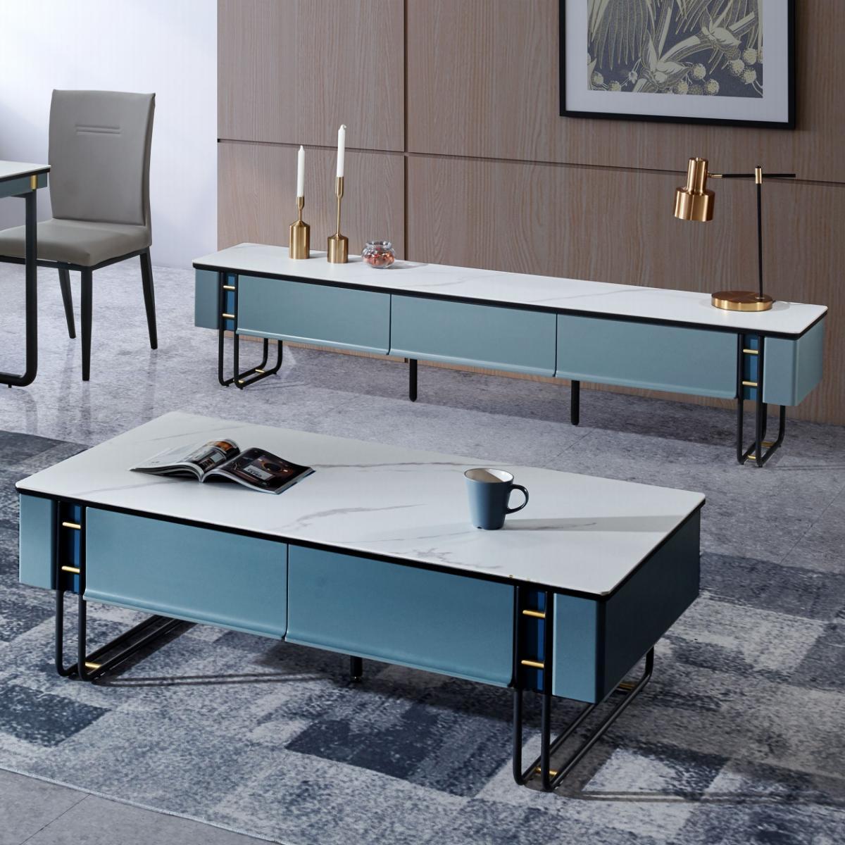 岩板茶几电视柜组合客厅家用小户型意式极简简约现代地柜智能茶几