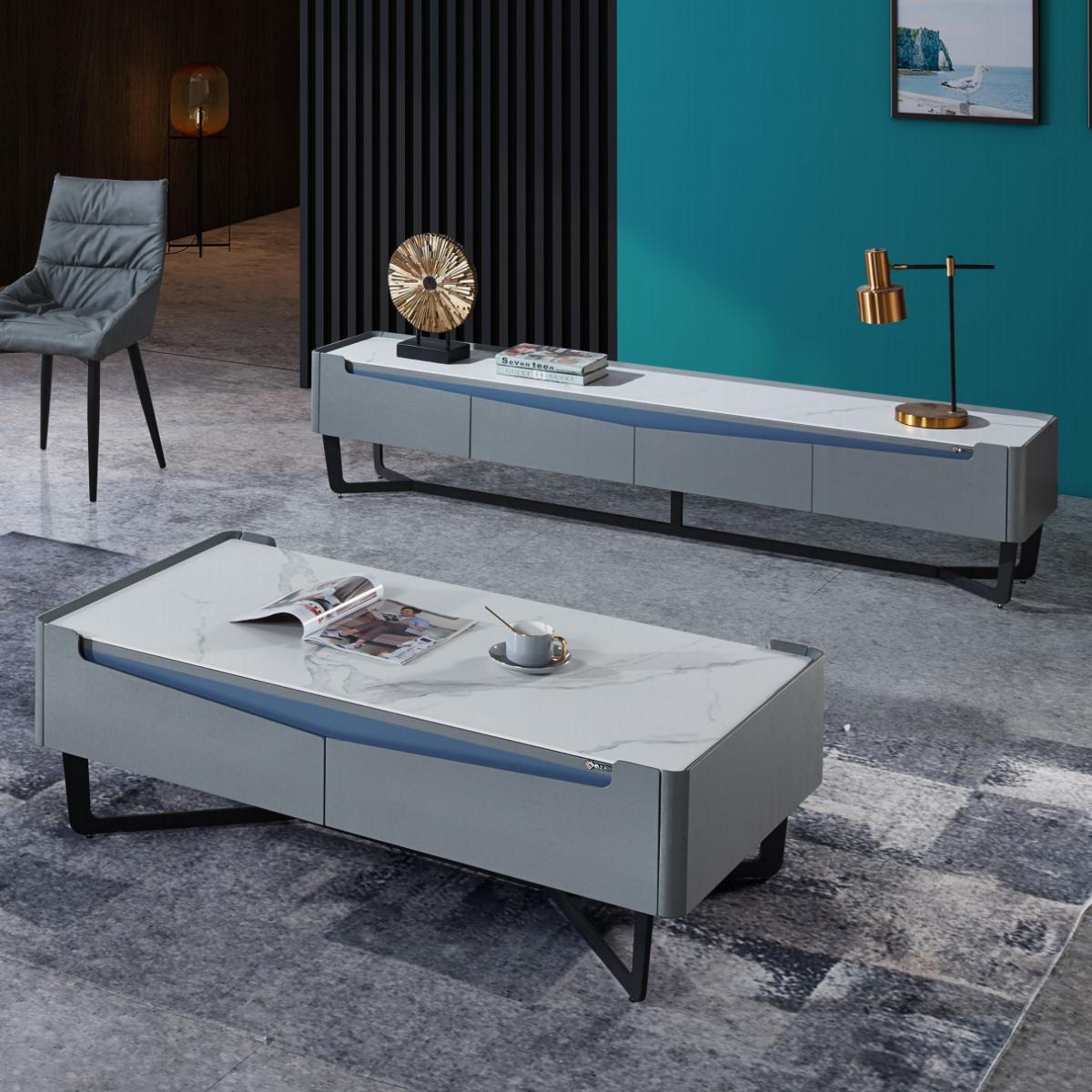 意式极简茶几电视柜组合北欧轻奢方形岩板茶几简约现代客厅地柜