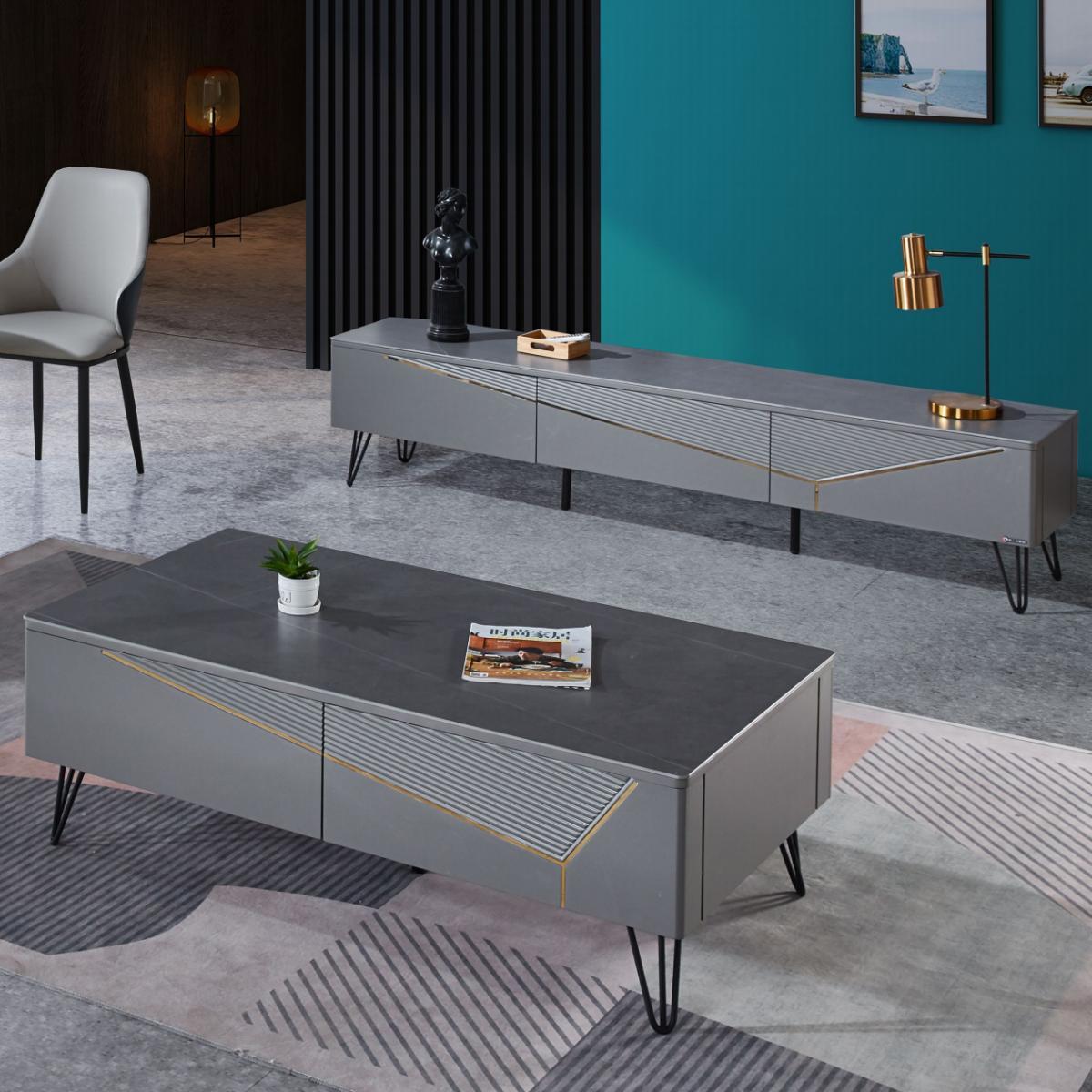 北欧茶几小户型电视柜组合现代简约客厅家用轻奢岩板创意玻璃茶台
