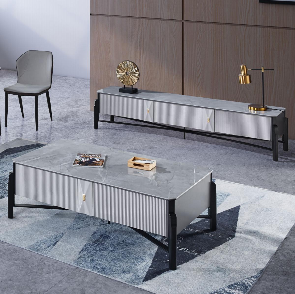 北欧茶几电视柜组合现代简约客厅极简现代轻奢灰色岩板茶几电视柜