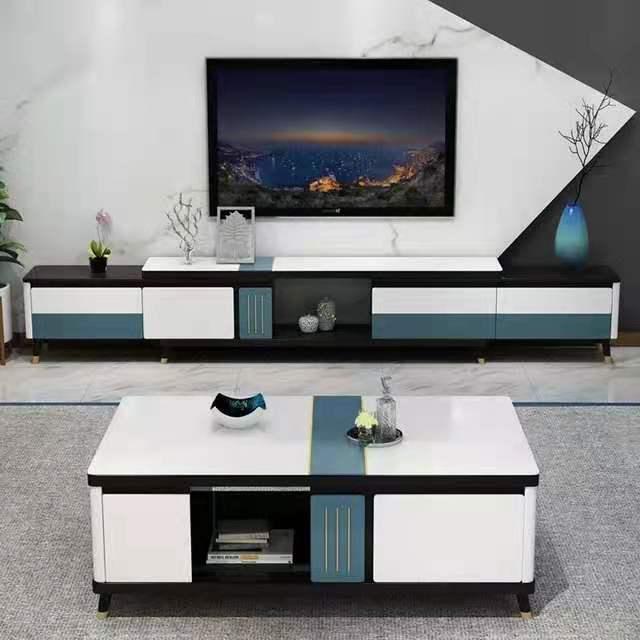 现代简约茶几电视柜客厅轻奢可伸缩大理石钢化玻璃套装岩板家用