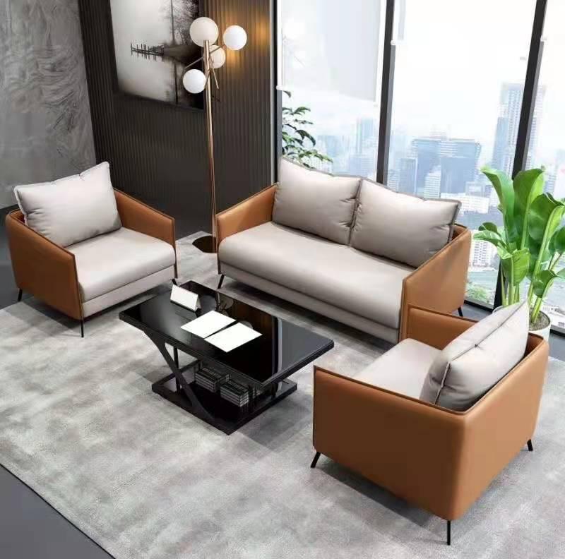简约时尚办公沙发茶几组合 商务会客区三人位接待沙发新款
