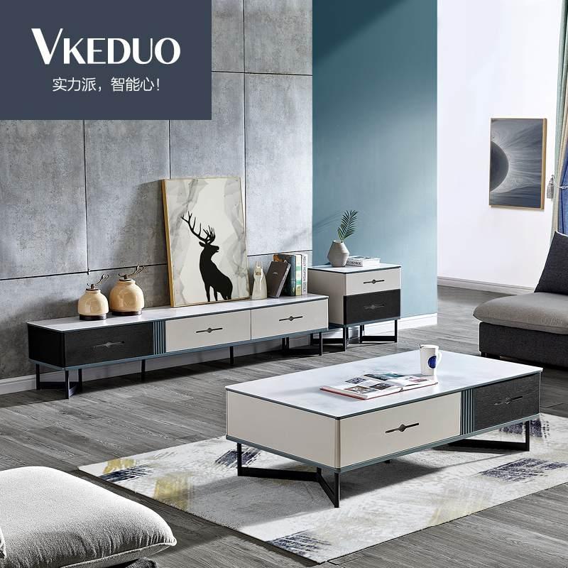 维可多多功能餐桌钢化磨砂玻璃电视柜茶几组合现代简约小户型可伸缩电视机柜