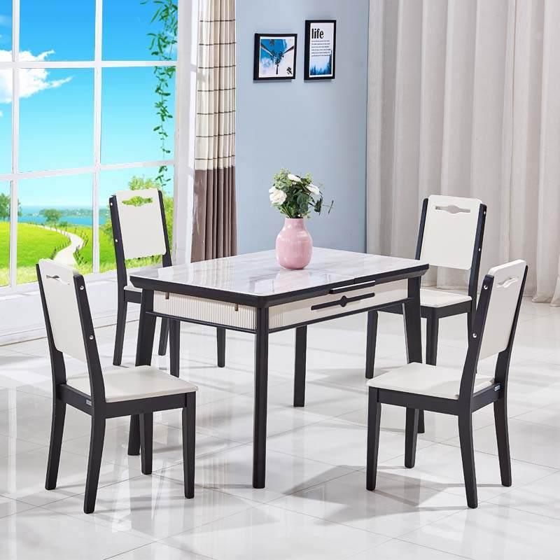 维可多北欧风格玻钢石餐桌椅组合可伸缩简约实木长方形饭桌小户型折叠家用