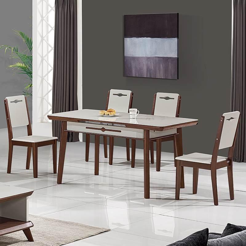 维可多现代简约可拉伸缩餐桌椅子组合北欧小户型圆角设计师家用桌子