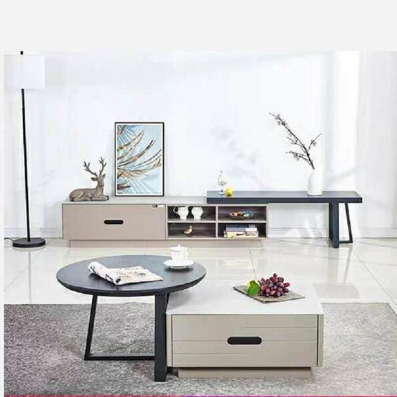 电视柜茶几组合套装现代简约小户型北欧轻奢简易伸缩边柜电视机柜