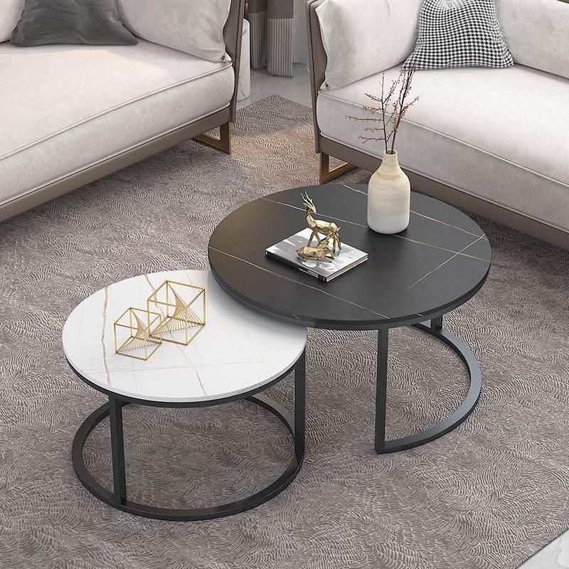 北欧ins风岩板大理石茶几简约小户型设计师客厅圆桌现代网红茶几
