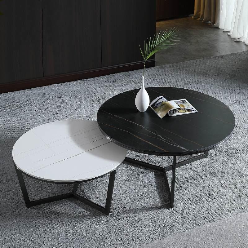 北欧创意意式岩板茶几圆形子母茶几组合小户型客厅轻奢网红小茶几