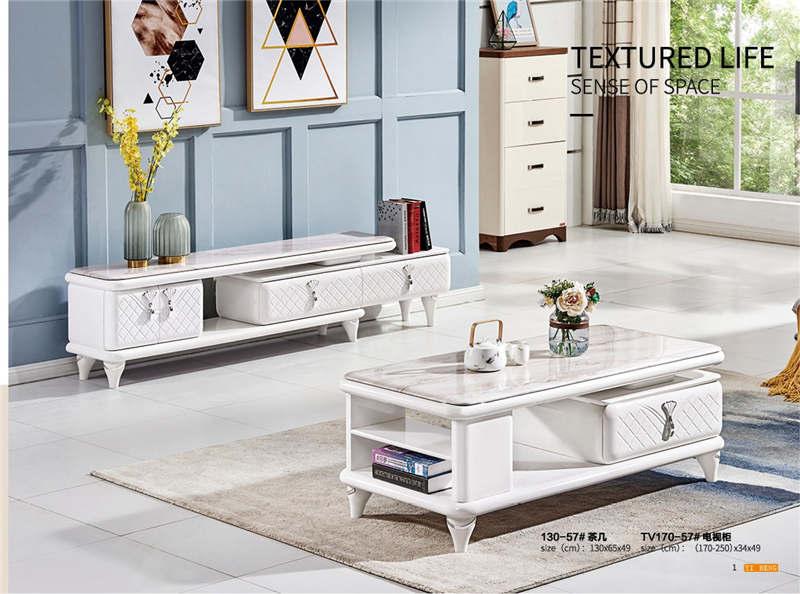现代简约茶几电视柜组合套装 大理石伸缩地柜客厅家具玻璃影视柜