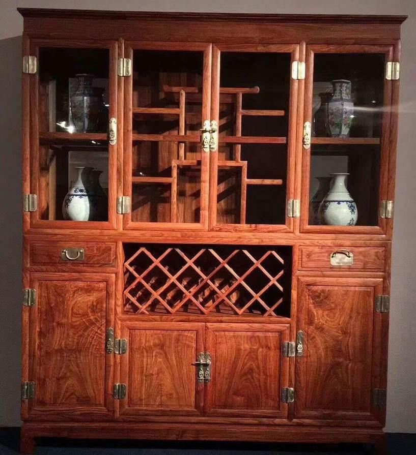 新中式红木酒柜实木客厅家具刺猬紫檀吧台展示柜非洲花梨木隔断柜
