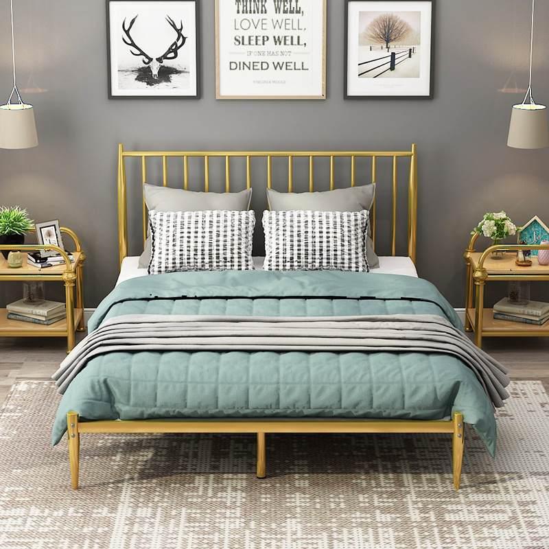 现代简约金属床 创意小户型卧室公寓酒店金色1.2米 1.5米 1.8米双人铁艺床定制