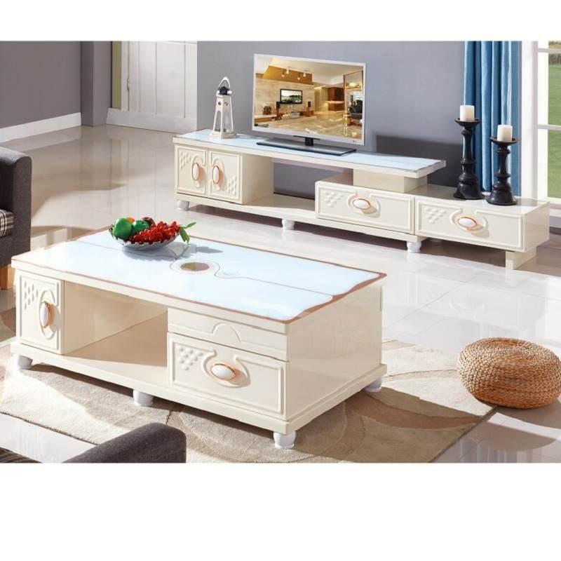 天然大理石茶几电视柜钢化玻璃环保烤漆实木小户型茶桌现代简约