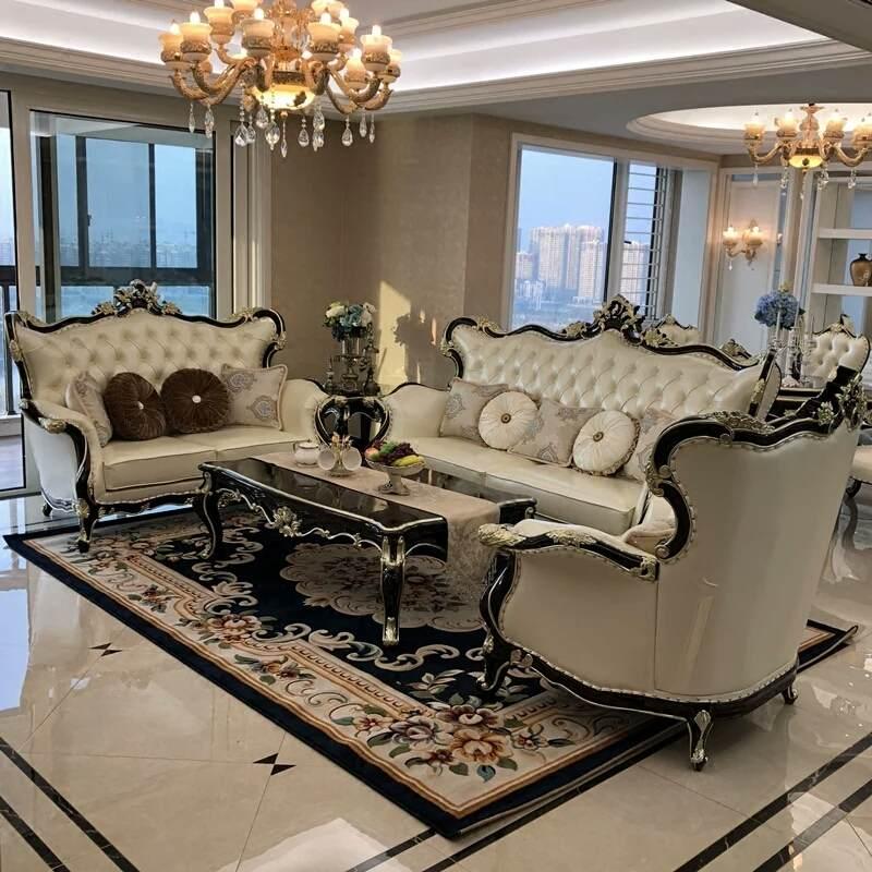 欧式沙发真皮组合实木法式奢华简欧别墅新古典小户型全套客厅家具123组合
