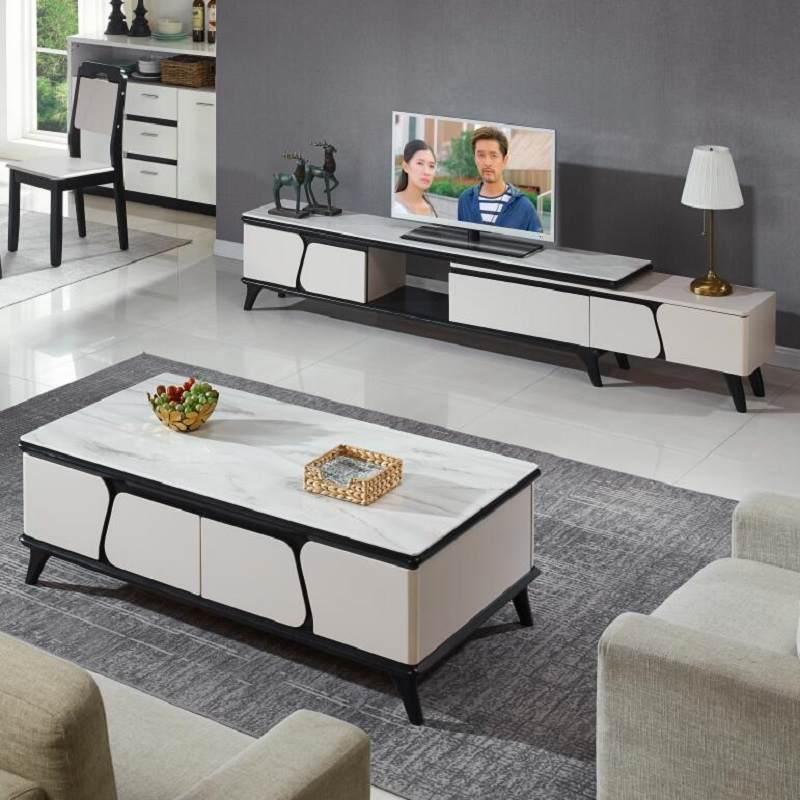玻钢石茶几电视柜组合北欧ins风轻奢2019年新款客厅钢化玻璃面板